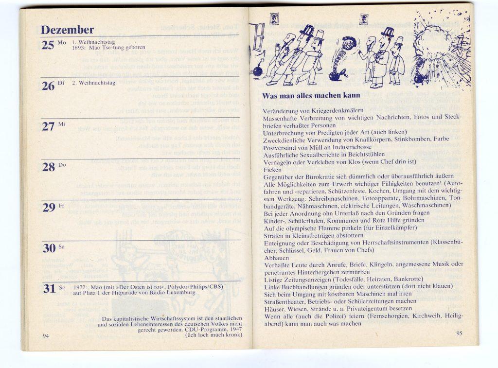 """Innenansicht Roter Kalender: Auf der linken Seite ist der Text """"Was man alles machen kann"""" abgebildet, der später zensiert wurde, da der Vorwurf erhoben wurde, er stachele zu kriminellem Handeln an"""