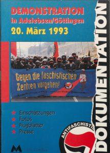 """Broschürencover """"Demonstration in Adelsleben/Göttingen, 20. März 1993"""" von der Antifaschistischen Aktion"""