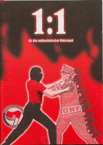 """Broschürencover mit der Aufschrift """"Eins zu eins für den antifaschistischen Widerstand"""""""