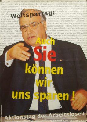 """Plakat """"Weltspartag: Auch Sie können wir uns sparen!"""""""