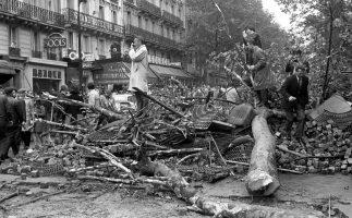 Barrikade aus Pflastersteinen gefällten Bäumen und Baumrosten