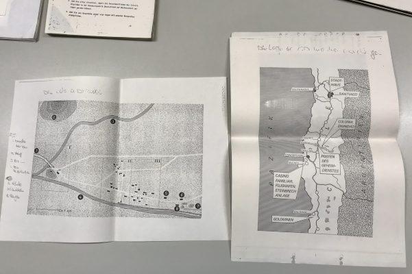 Landkarten zeigen Ausschnitte von Chile und das Gelände der Colonia Dignidad
