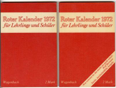 Cover des unzensierten und des zensierten Roten Kalenders nebeneinander