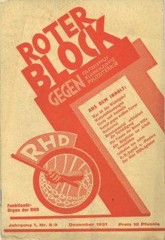 """Roter Block gegen Faschismus, Klassenjustiz, Polizeiterror. Funktionärsorgan der Roten Hilfe"", Dezember 1931"