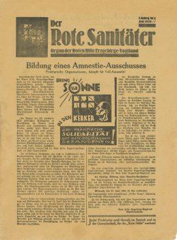 """Regionalzeitung """"Der Rote Sanitäter. Organ der Roten Hilfe Erzgebirge-Vogtland"""", Juli 1928"""
