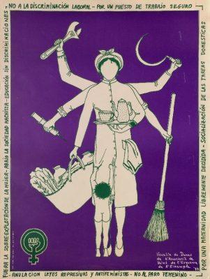 Plakat aus der katalanischen Frauenbewegung mit Forderungen nach Gleichberechtigung, sicheren Arbeitsplätzen u.a., 1977  - Signatur: SBe_100_P2_03