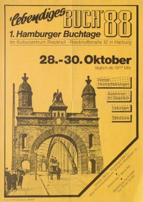 Ankündigung der ersten Hamburger Buchtage im Harburger Kulturzentrum Rieckhof, 1988 - Signatur: SBe_410_P2_28