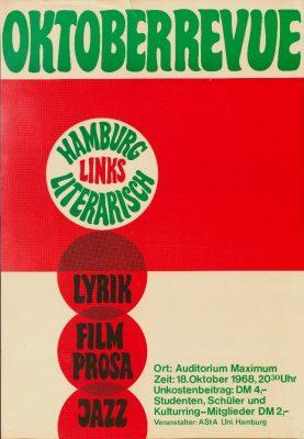 """Veranstaltungsplakat der Gruppe """"Hamburg Links Literarisch"""",  AStA Universität Hamburg, 1968 - Signatur: SBe_425_P2_13"""