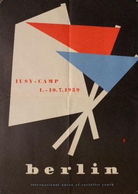 """Ankündigung des Jugendcamps der """"Internationalen Union der Sozialistischen Jugend"""" (IUSY), 1959 - Signatur: SBe_435_P2_02"""