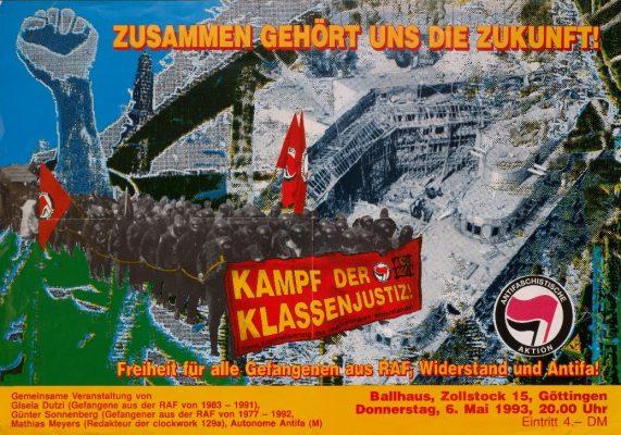 Veranstaltungsplakat der Antifa/M, Kunst und Kampf, Göttingen 1993 - Signatur: SBe_561_P2_AM_20